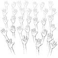 Hands up an illustration with a lot of together upwards Stock Photo