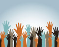 Hands up over blue background vector illustration Stock Photos