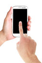 Hands using cell phone a mans hand a touchscreen with a blank screen isolated on white Stock Image