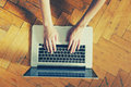 Hands using laptop typing Royalty Free Stock Photo