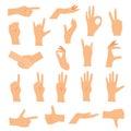 Hands in various gestures. Flat design modern vector illustratio