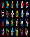 Hands victory sign gloves decorated north america flags Royalty Free Stock Images