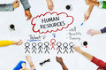 Hands on Whiteboard with Human Resources Concepts Royalty Free Stock Photo