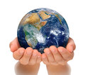 Hands of woman holding globe, Africa and Near East Stock Photo