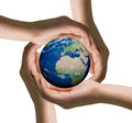Hands of women and the globe Royalty Free Stock Photo