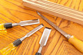 Handsaw and Wood Chisels Stock Image