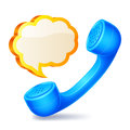 Handset and speech bubble blue yellow Stock Photos