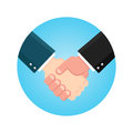 Handshake businessman agreement. Shaking hands business icon on a blue. Vector illustration flat style. symbol of a successful tr