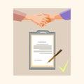 Handshake Businessman Contract Sign Up Paper Document, Business Man Hands Shake Pen Signature