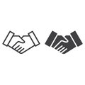 Handshake deal line and solid icon