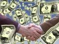 Handshake with dollar around Royalty Free Stock Photo