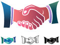 Handshake isolated illustrated clip art set Royalty Free Stock Images