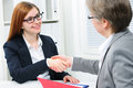 Handshake while job interviewing to seal a deal after a recruitment meeting Stock Photos
