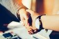 Handshake between joint venture businessmans Royalty Free Stock Photo