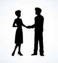 Handshake of man and woman. Vector drawing