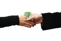 Handshake with money isolated on white background Royalty Free Stock Image