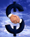 Handshake with Money Sign Stock Image
