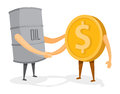 Handshake between oil barrel and gold coin or money cartoon illustration of friendly Stock Photo