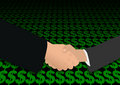 Handshake over dollar symbols Royalty Free Stock Photography