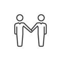 Handshake, partnership line icon, outline vector sign, linear style pictogram isolated on white. Symbol, logo illustration. Editab