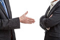 Handshake proposal in case of quarrel between two managers Royalty Free Stock Photography