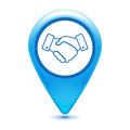 Handshake thin line design pointer icon on a white background - Royalty Free Stock Photo