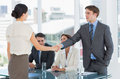 Handshake to seal a deal after a job recruitment meeting Royalty Free Stock Photo