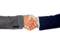 Handshake between two businessmen isolated on a white background Stock Photos