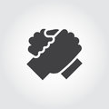 Handshake of two people icon in flat style.