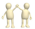 Handshake of two puppets isolated on white background Royalty Free Stock Images