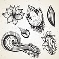 Handsketched set of beautiful mehndi design elements. Henna temporary flash tattoo. Traditional ethnic style tribal ornaments.
