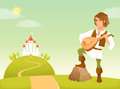 Handsome bard in a fairy tale kingdom Royalty Free Stock Photo