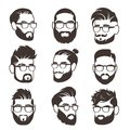 Handsome bearded hipster man faces with mustache and modern male hairstyle vector avatars isolated