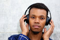 Handsome black man listening to music with headphones Royalty Free Stock Photo