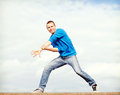 Handsome boy making dance move sport dancing and urban culture concept Royalty Free Stock Photography