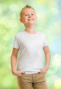 Handsome boy in white tshirt outdoor Stock Photography