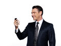 Handsome business man phoning caucasian holding cell phone happy portrait isolated studio on white background Royalty Free Stock Images