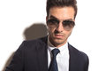 Handsome business man's face wearing sunglasses Royalty Free Stock Photo