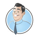 Handsome businessman in a badge illustration of Royalty Free Stock Photography