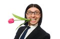Handsome businessman with flower isolated on the Royalty Free Stock Photo