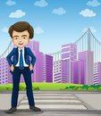 A handsome businessman standing at the pedestrian lane illustration of Stock Photo
