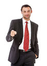 Handsome caucasian young businessman business man showing copy space isolated on white background Royalty Free Stock Photos