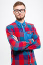 Handsome confident bearded male in glasses with folded hands Royalty Free Stock Photo