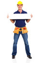 Handsome construction contractor holding banner isolated white Stock Photos