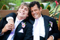 Handsome gay men on wedding day couple relaxing a swing at their reception Stock Photography