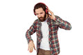 Handsome hipster enjoying listening to music on white background Royalty Free Stock Photo