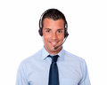 Handsome hispanic man talking with earphone Royalty Free Stock Image