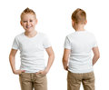 Handsome kid boy model in white t shirt or tshirt back and front isolated Stock Photo