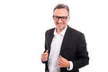 Handsome male with glasses smiling confident Royalty Free Stock Photo