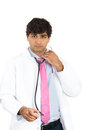 Handsome male health care professional or doctor or nurse taking stethoscope off closeup portrait of isolated on white background Stock Image